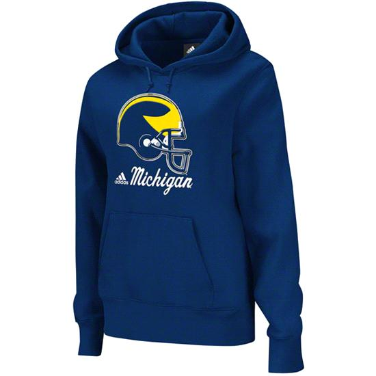 Michigan Wolverines adidas Navy Women's Helmet Patch Too Hooded Sweatshirt