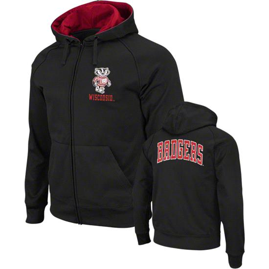 Wisconsin Badgers Charcoal Bootleg Full-Zip Fleece Hooded Sweatshirt