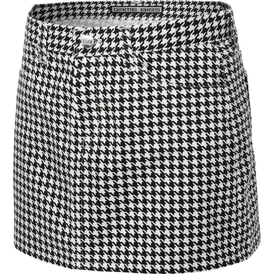 Women's Black/White Houndstooth Game Bibs Fitted Skirt
