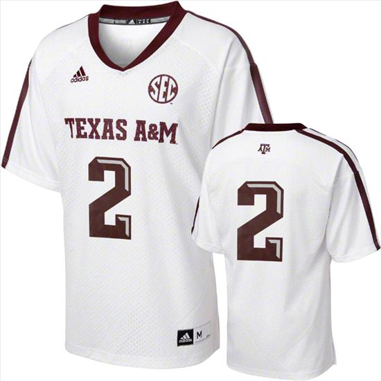 Texas A&M Aggies Replica Football Jersey: #2 adidas White Replica Football Jersey