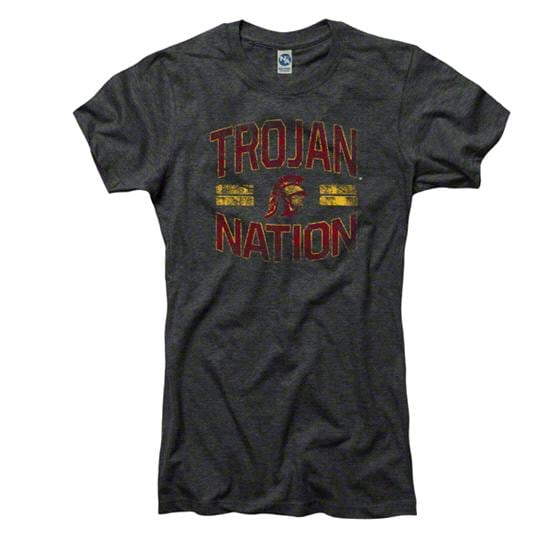 USC Trojans Women's Heathered Black Laney Ring Spun T-Shirt