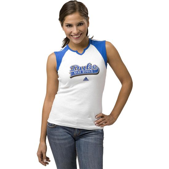 Duke Blue Devils Women's adidas 'Team Sweep' Cap Sleeve Raglan Top