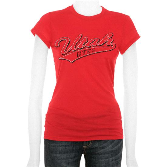 Utah Utes Women's Red Tail Sweep Cube T-Shirt
