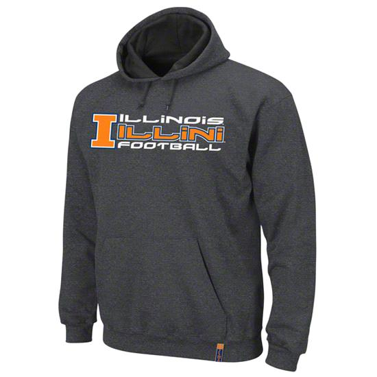 Illinois Fighting Illini Charcoal Gridiron 3 Hooded Sweatshirt