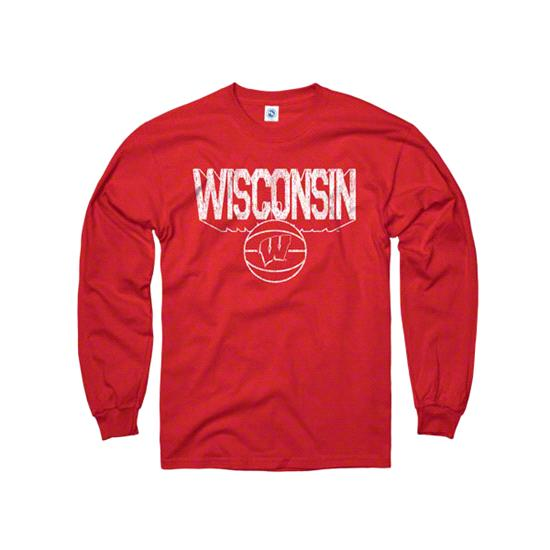 Wisconsin Badgers Red Dimension Basketball Long Sleeve T-Shirt