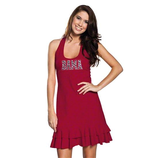 Alabama Crimson Tide Women's Crimson Ruffle Racerback Dress