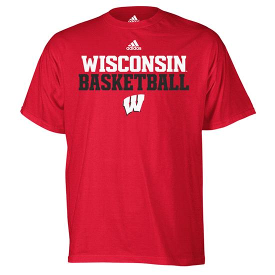 Wisconsin Badgers adidas Red Basketball Sideline T-Shirt