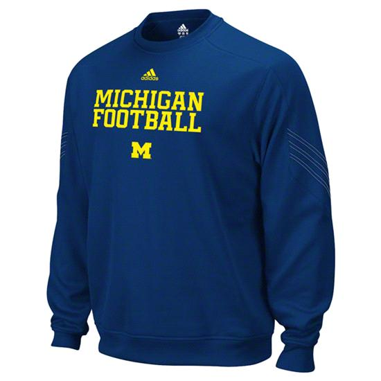Michigan Wolverines Navy adidas Practice Stitch ClimaWarm Crewneck Sweatshirt