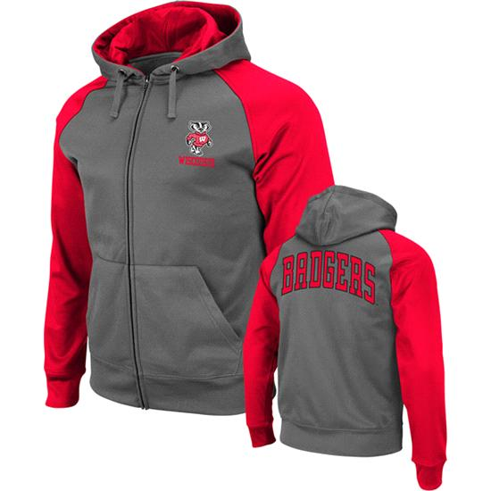 Wisconsin Badgers Red Swift Full-Zip Hooded Sweatshirt