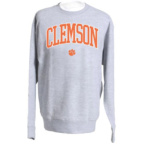 Clemson Tigers Grey Twill Arch Crewneck Sweatshirt
