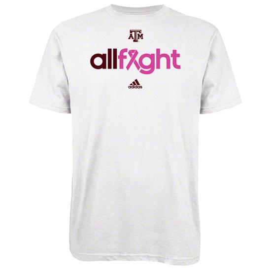 Texas A&M Aggies White adidas 2012 Breast Cancer Awareness All Fight T-Shirt