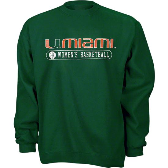 Miami Hurricanes Green Women's Basketball Crewneck Sweatshirt