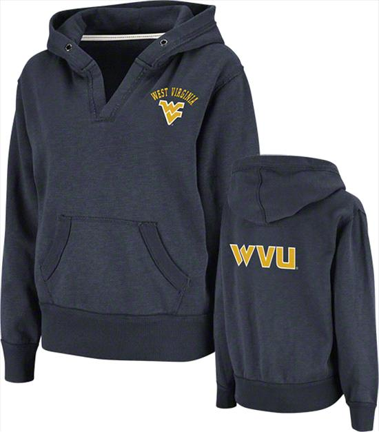 West Virginia Mountaineers Women's Navy Balance Slub Fleece Hooded Sweatshirt