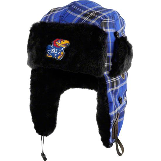 Kansas Jayhawks Youth Royal Plaid Pattern Winterize Earflap Knit Hat