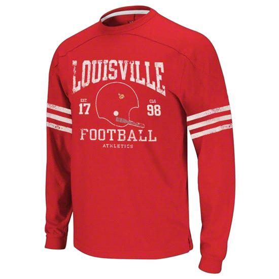Louisville Cardinals Youth adidas Football Vintage Yoked Long Sleeve Crewneck Sweatshirt
