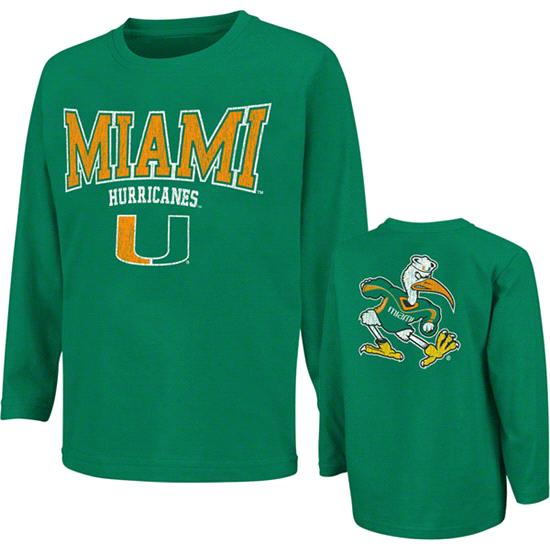 Miami Hurricanes Dark Green Toddler Huddle Long Sleeve T-Shirt