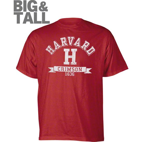 Harvard Crimson Maroon Distressed Logo Big & Tall T-Shirt