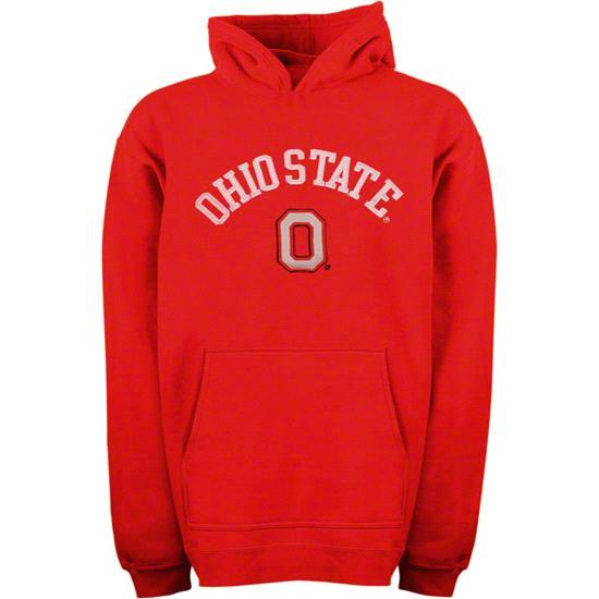 Ohio State Buckeyes Kids 4-7 Red Tackle Twill Hooded Sweatshirt