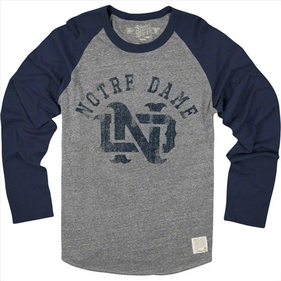Notre Dame Fighting Irish Original Retro Brand Interlock Vintage Raglan Long Sleeve T-Shirt