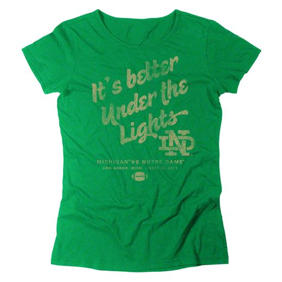 Notre Dame Fighting Irish Women's Green adidas It's Better Under The Lights Super Soft T-Shirt