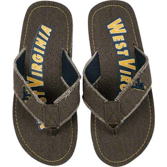 West Virginia Mountaineers Brown Frayed Thick Strap Flip Flops