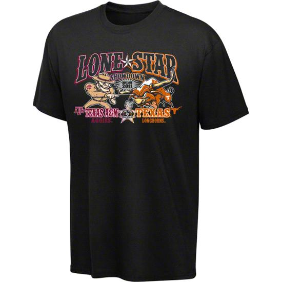 Texas Longhorns vs Texas A&M Aggies Lone Star Showdown Youth Black T-Shirt