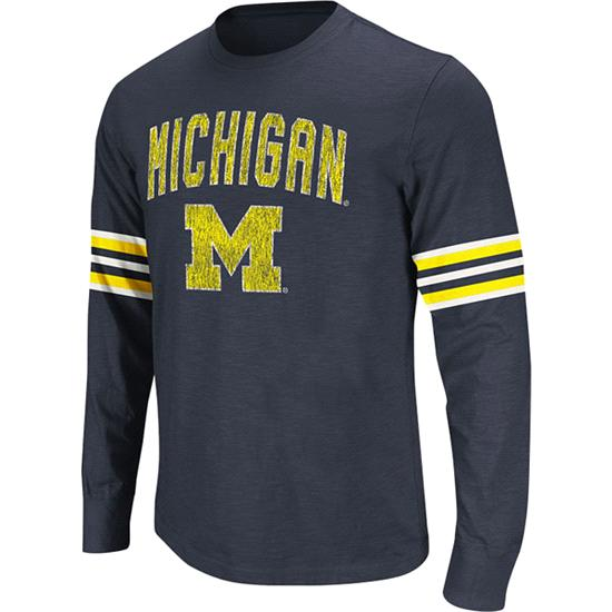 Michigan Wolverines Navy Tackle Long Sleeve Slub Knit T-Shirt