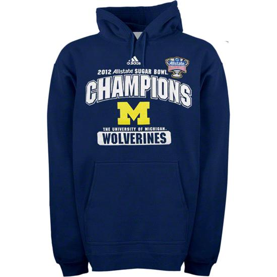 Michigan Wolverines Navy adidas 2012 BCS Sugar Bowl Champions Club Hooded Sweatshirt