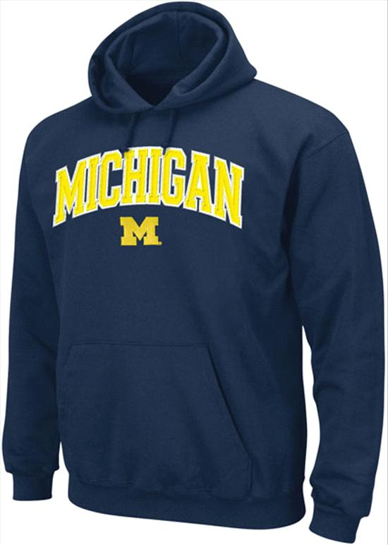 Michigan Wolverines Navy Seasonal Arch Tackle Twill Hooded Sweatshirts