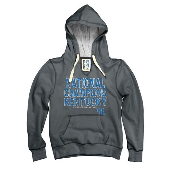 Kentucky Wildcats Women's Royal 2012 NCAA Basketball National Champions Fade Away V-Notch Hooded Sweatshirt