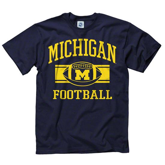 Michigan Wolverines Navy Wide Stripe Football T-Shirt