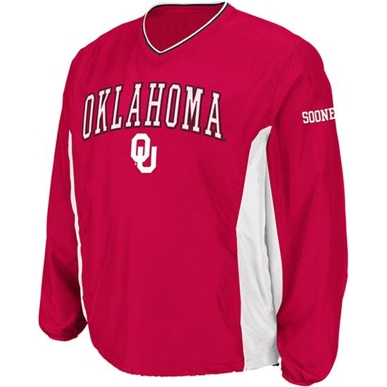 Oklahoma Sooners Cardinal Sliders Coaches Long Sleeve Pullover