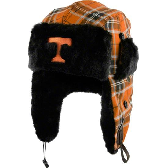 Tennessee Volunteers Youth Tn Orange Plaid Pattern Winterize Earflap Knit Hat
