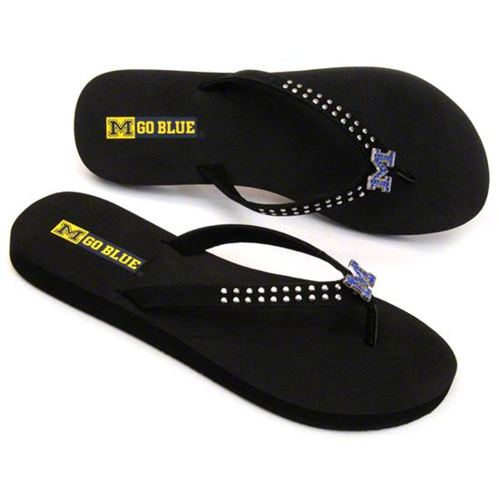 Michigan Wolverines Women's Stud Flip Flop