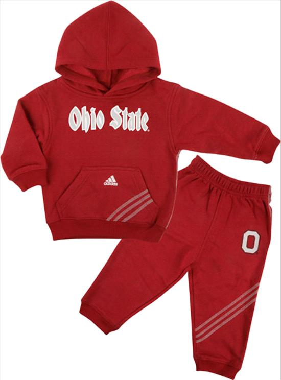 Ohio State Buckeyes Red Toddler 3 Stripe Hooded Sweatshirt and Pant Set