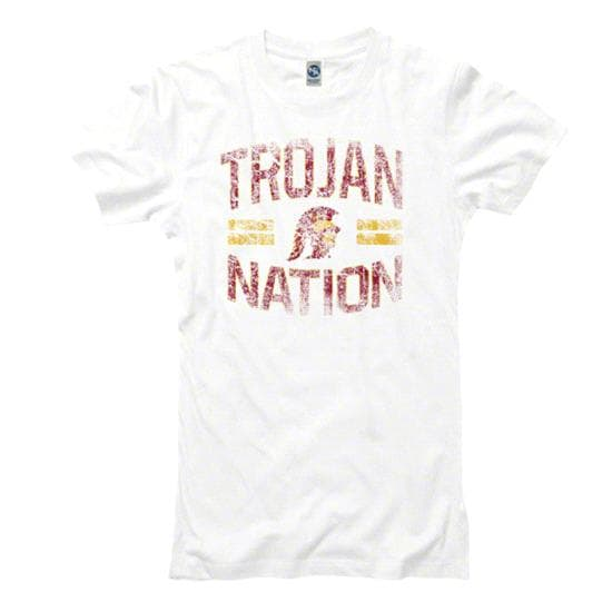 USC Trojans Women's Heathered White Laney Ring Spun T-Shirt
