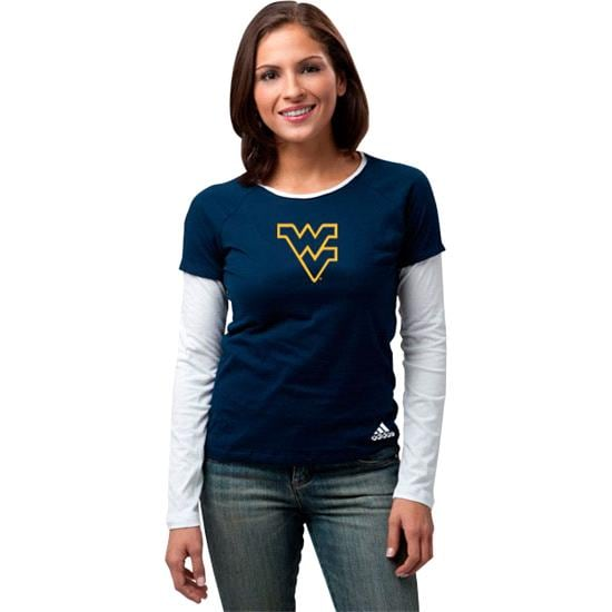 West Virginia Mountaineers Women's adidas 'Loud & Proud' Long Sleeve Layered Tissue Tee