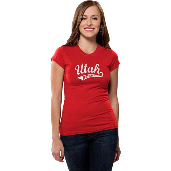 Utah Utes Women's Distressed Tail Sweep Short Sleeve Tee