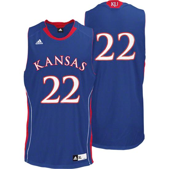 Kansas Jayhawks Youth adidas Royal #22 Replica Basketball Jersey