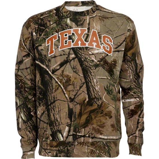 Texas Longhorns Realtree Outfitters Camouflage Crewneck Sweatshirt