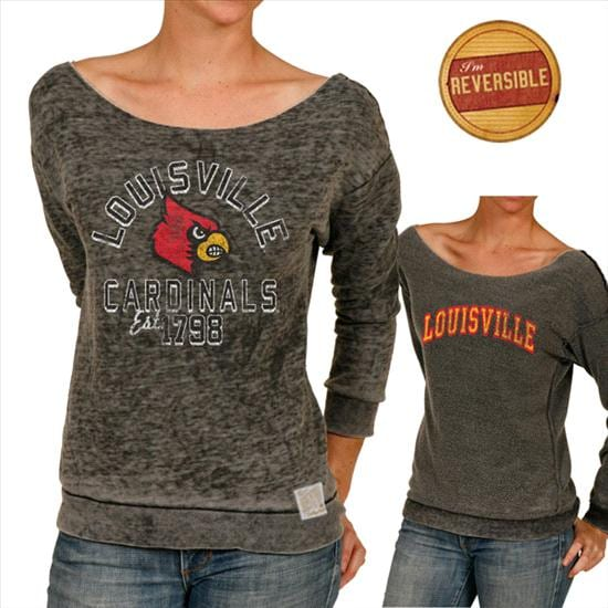 Louisville Cardinals Original Retro Brand Women's Raw Edge Burnout Reversible Boat Neck Sweatshirt
