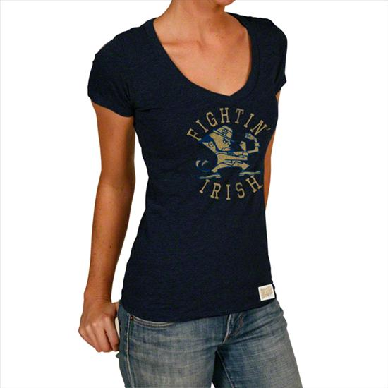 Notre Dame Fighting Irish Original Retro Brand Women's Up & Down Vintage Deep V-Neck T-Shirt