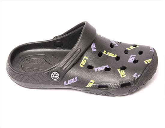LSU Tigers All Over Logo Clogs