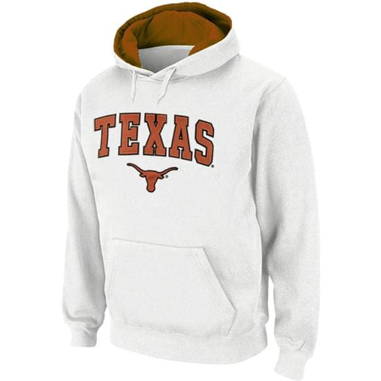 Texas Longhorns White Arched Tackle Twill Hooded Sweatshirt