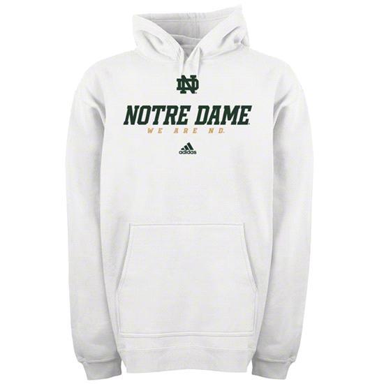 Notre Dame Fighting Irish White adidas 2012 Football Sideline Graphic Hooded Sweatshirt