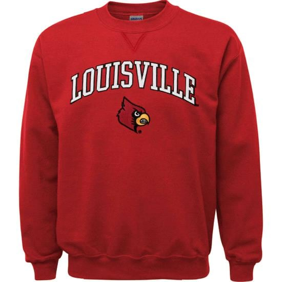 Louisville Cardinals Women's Red Tackle Twill Crewneck Sweatshirt