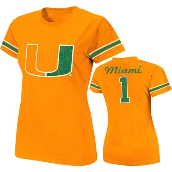 Miami Hurricanes Orange Women's Galaxy Jersey T-Shirt