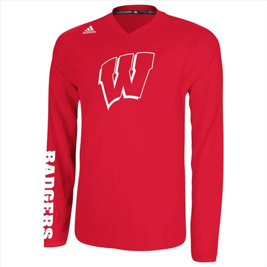 Wisconsin Badgers Red adidas On-Court Basketball Long Sleeve Shooter Shirt