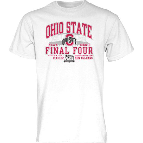 Ohio State Buckeyes White 2012 NCAA Basketball Final Four Bound Brushback T-Shirt