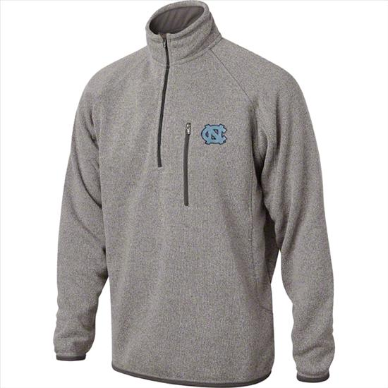 North Carolina Tar Heels Marled Grey  1/2 Zip Sweater Jacket